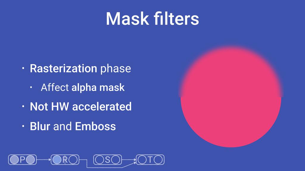 Mask filters • Rasterization phase • Affect alph...