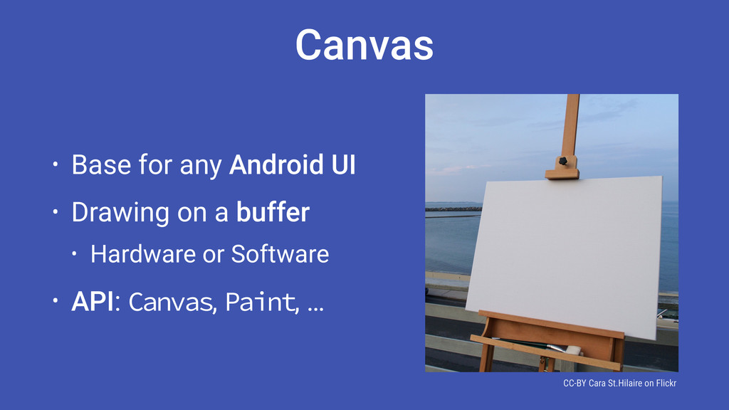• Base for any Android UI • Drawing on a buffer...