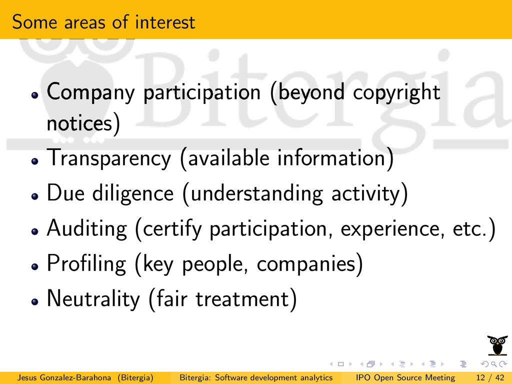 Some areas of interest Company participation (b...