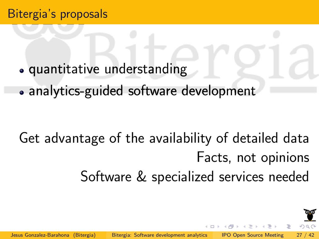 Bitergia's proposals quantitative understanding...