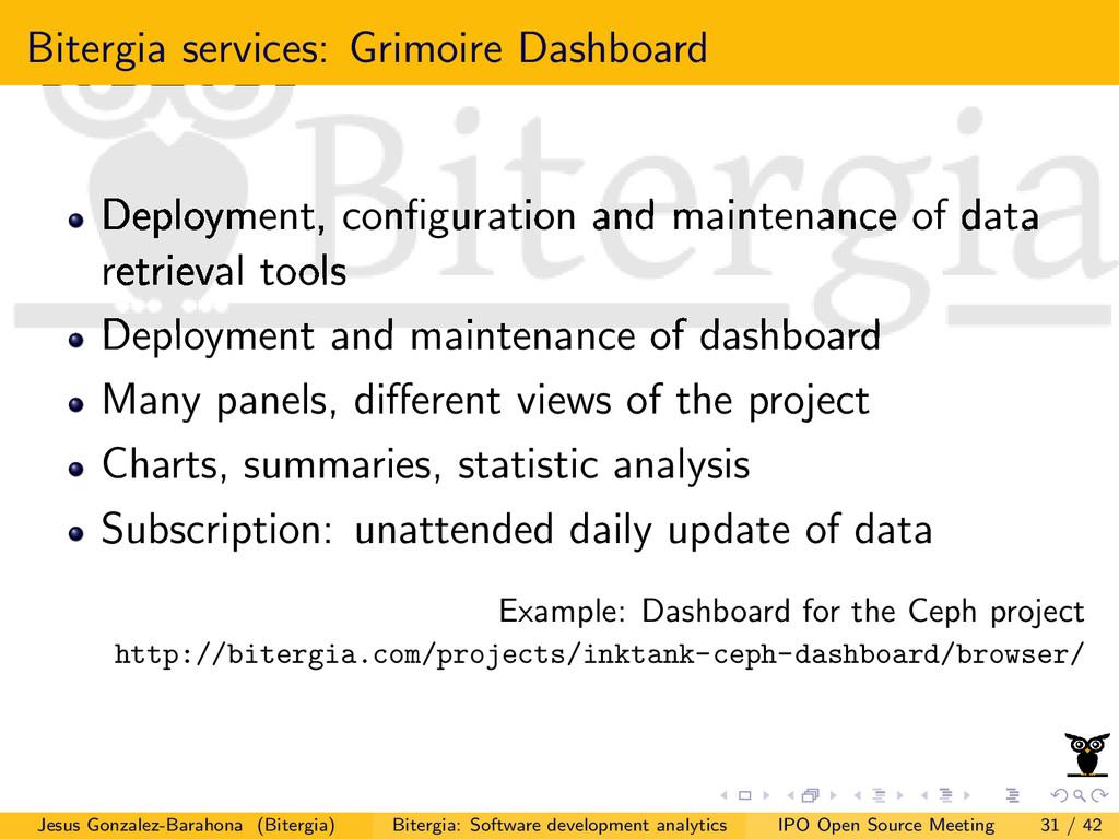 Bitergia services: Grimoire Dashboard Deploymen...