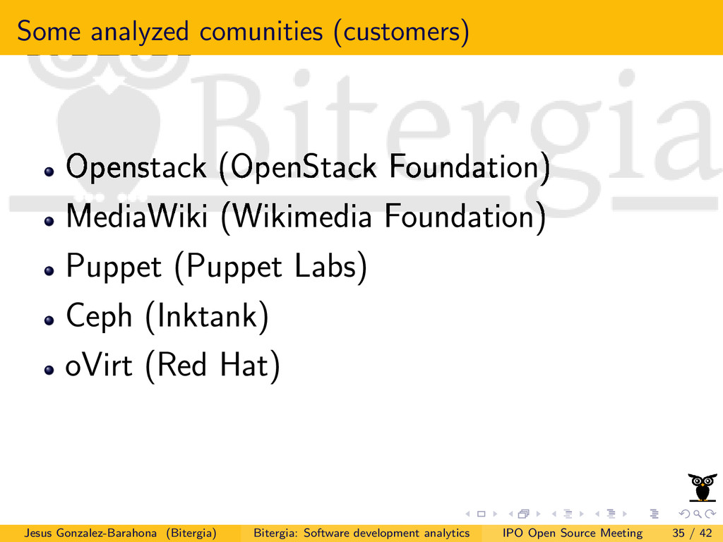 Some analyzed comunities (customers) Openstack ...