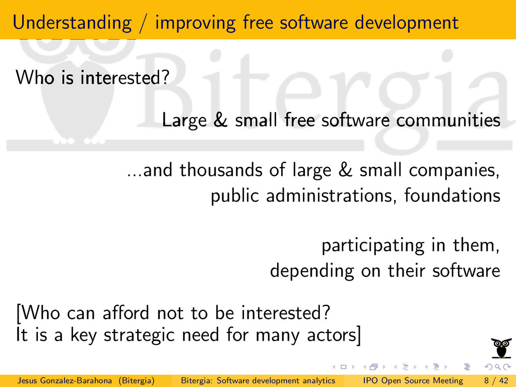 Understanding / improving free software develop...