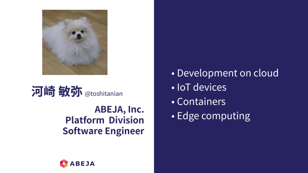 河崎 敏弥 @toshitanian ABEJA, Inc. Platform Divisio...