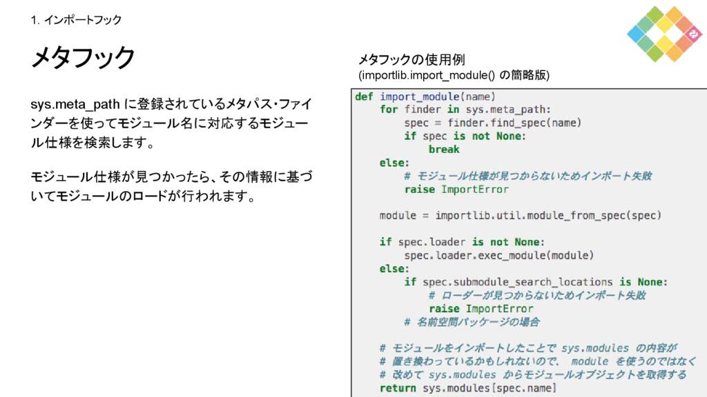 メタフック sys.meta_path に登録されているメタパス・ファイ ンダーを使ってモジュ...