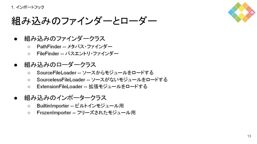 組み込みのファインダーとローダー ● 組み込みのファインダークラス ○ PathFinder ...