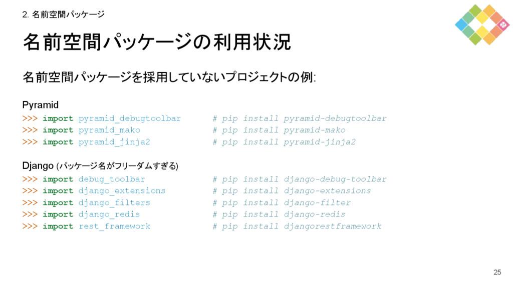 名前空間パッケージの利用状況 名前空間パッケージを採用していないプロジェクトの例: Pyram...