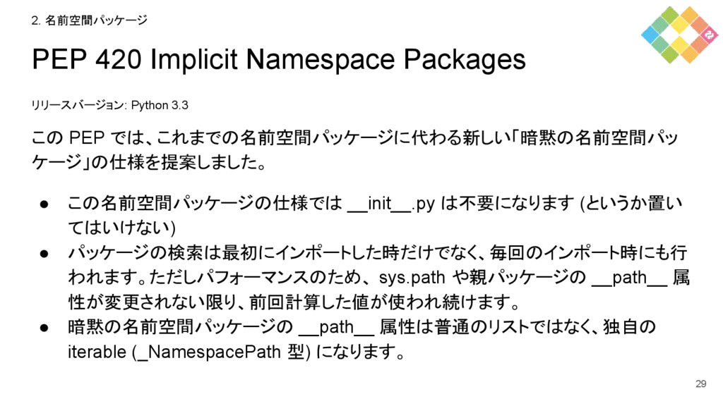 PEP 420 Implicit Namespace Packages リリースバージョン: ...
