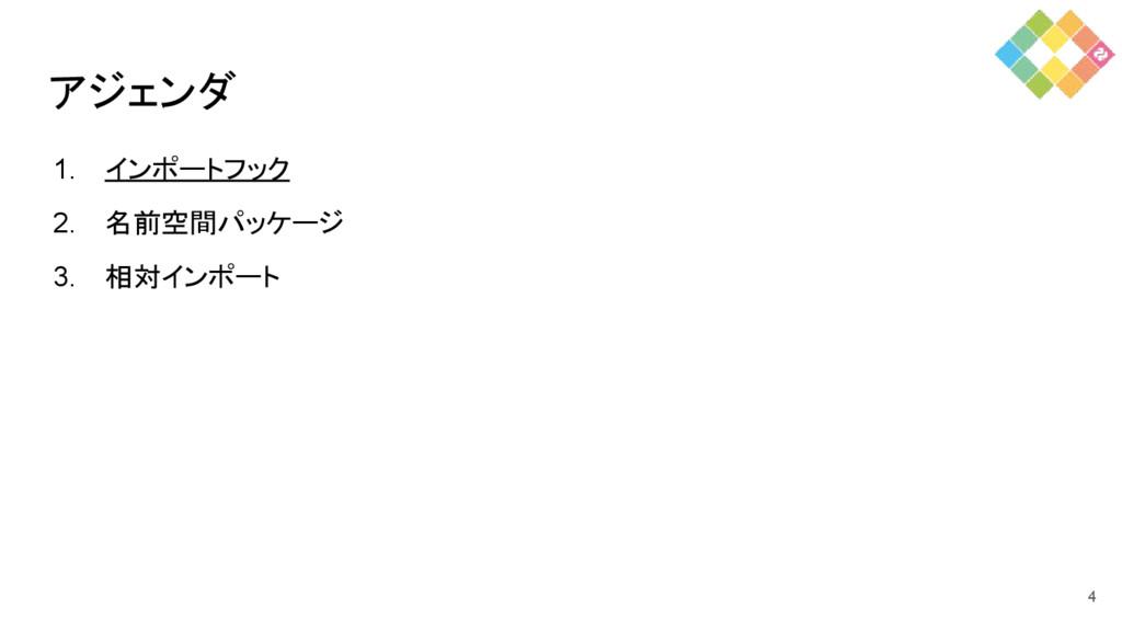 アジェンダ 1. インポートフック 2. 名前空間パッケージ 3. 相対インポート 4