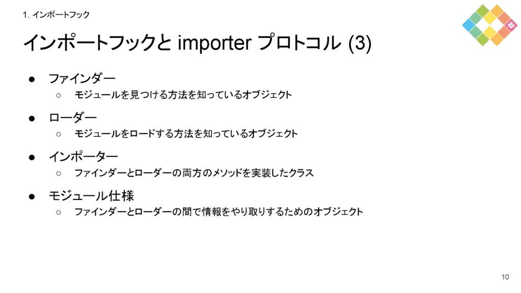 インポートフックと importer プロトコル (3) ● ファインダー ○ モジュールを見...