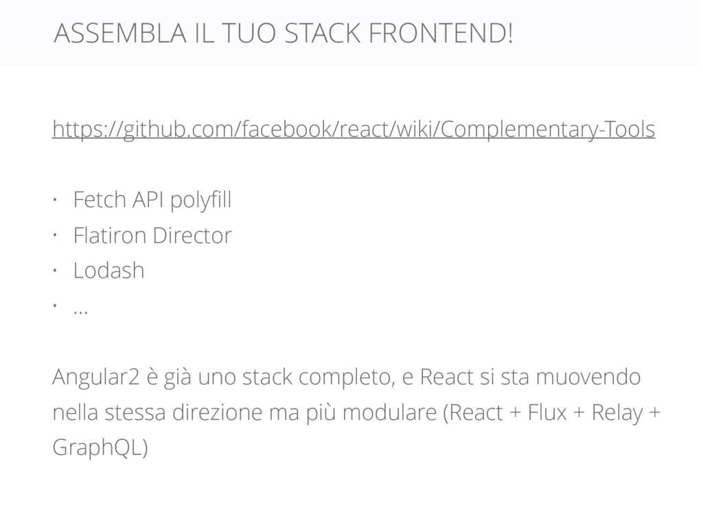 ASSEMBLA IL TUO STACK FRONTEND! https://github....