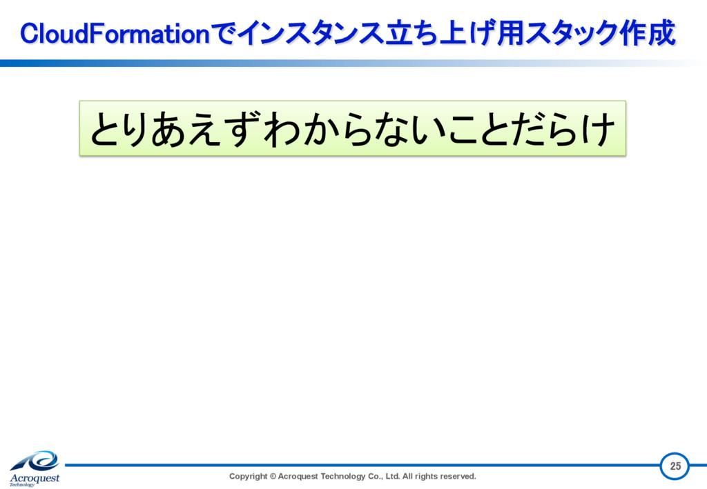 CloudFormationでインスタンス立ち上げ用スタック作成 Copyright © Ac...