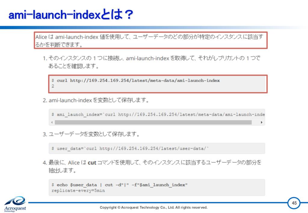 ami-launch-indexとは? Copyright © Acroquest Techn...