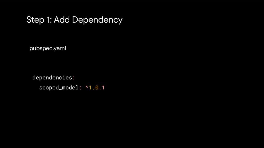 Step 1: Add Dependency pubspec.yaml dependencie...