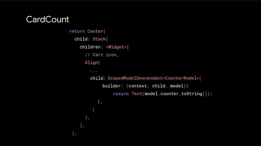 ScopedModelDescendant<CounterModel>( builder: (...