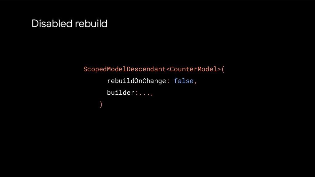 Disabled rebuild ScopedModelDescendant<CounterM...