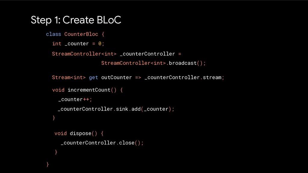 Step 1: Create BLoC class CounterBloc { int _co...