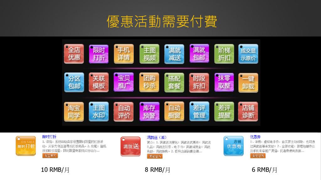 優惠活動需要付費 8 RMB/月 6 RMB/月 10 RMB/月