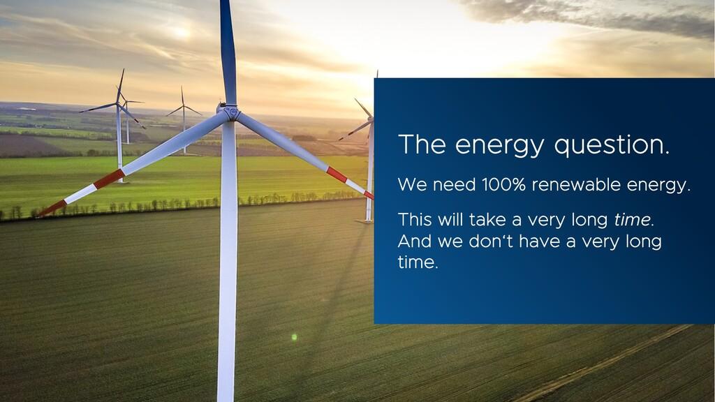 The energy question. We need 100% renewable ene...