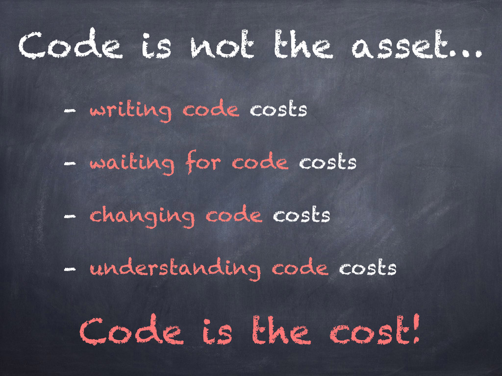 Code is not the asset… Code is the cost! - writ...