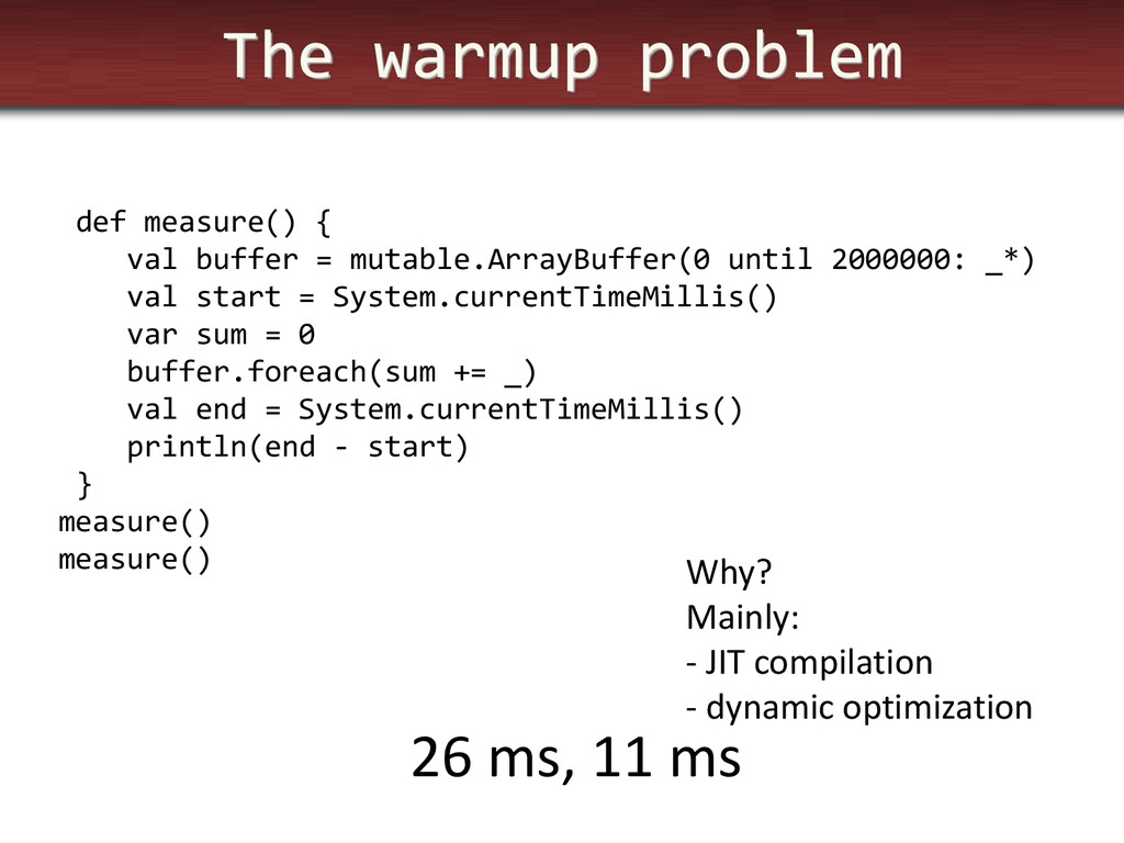 The warmup problem def measure() { val buffer =...