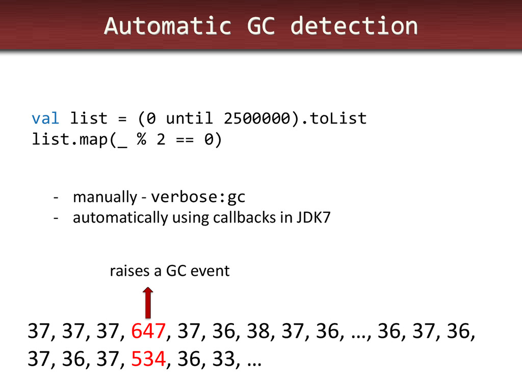 Automatic GC detection val list = (0 until 2500...