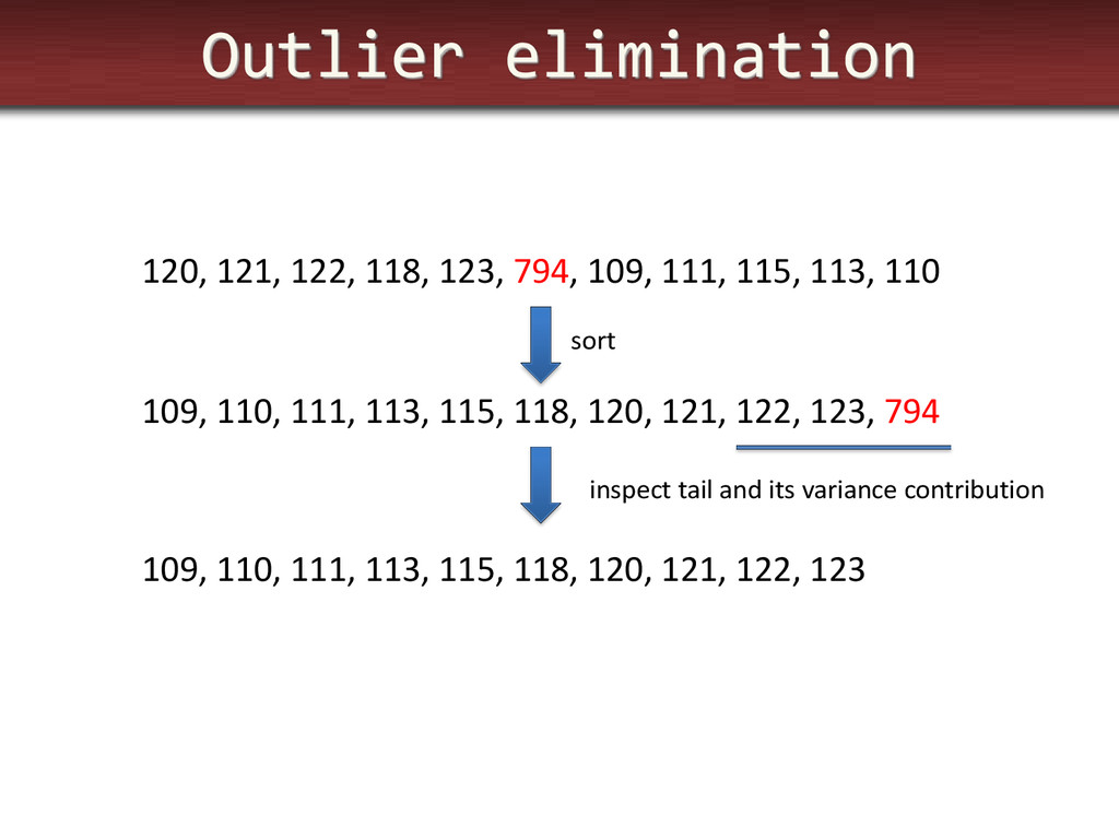 Outlier elimination 120, 121, 122, 118, 123, 79...