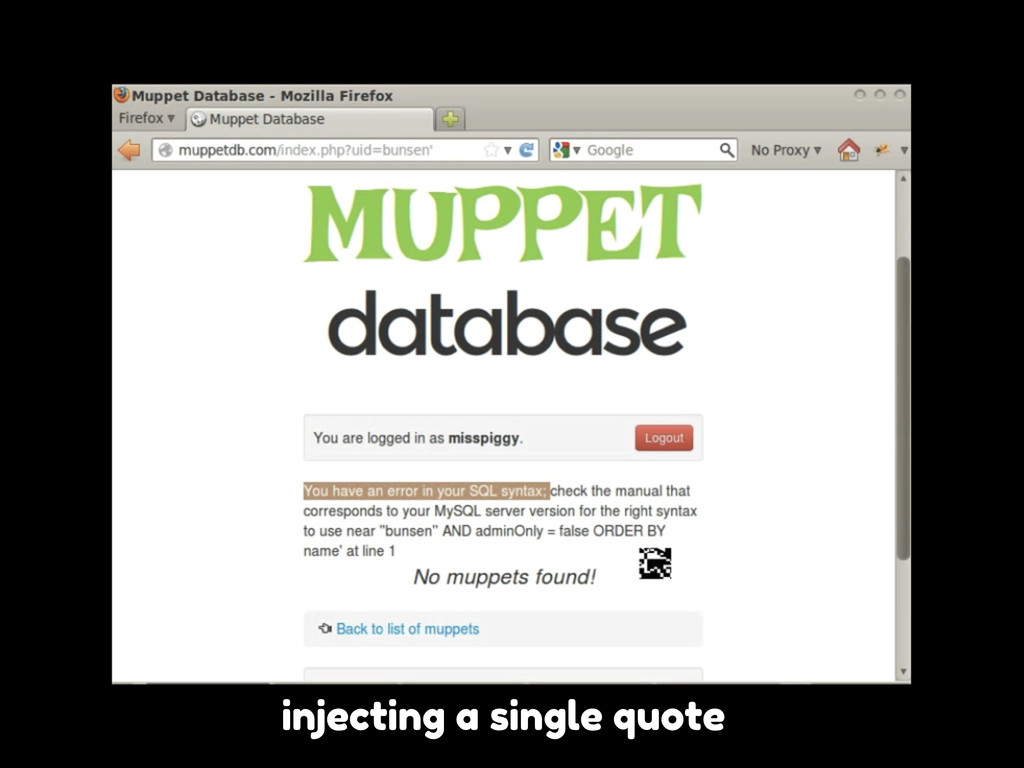 injecting a single quote