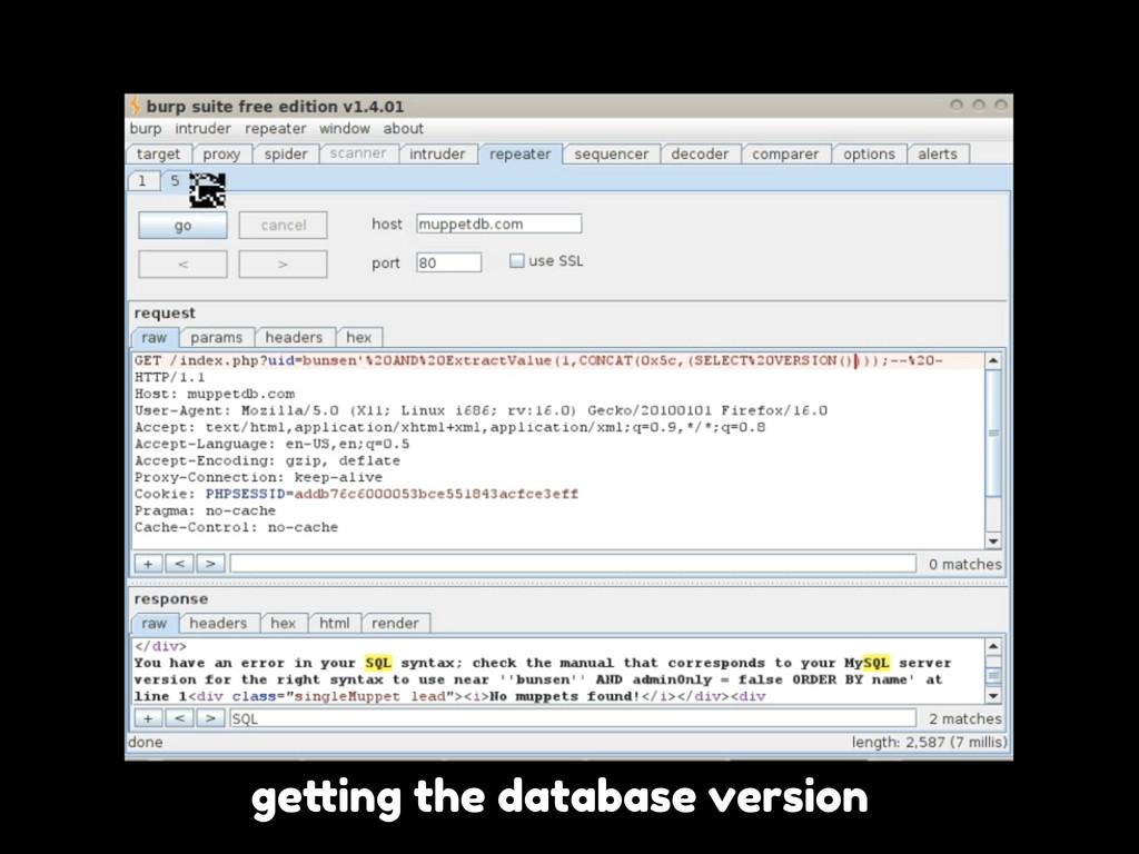"""ge""""ing the database version"""
