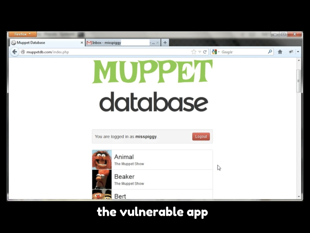 the vulnerable app