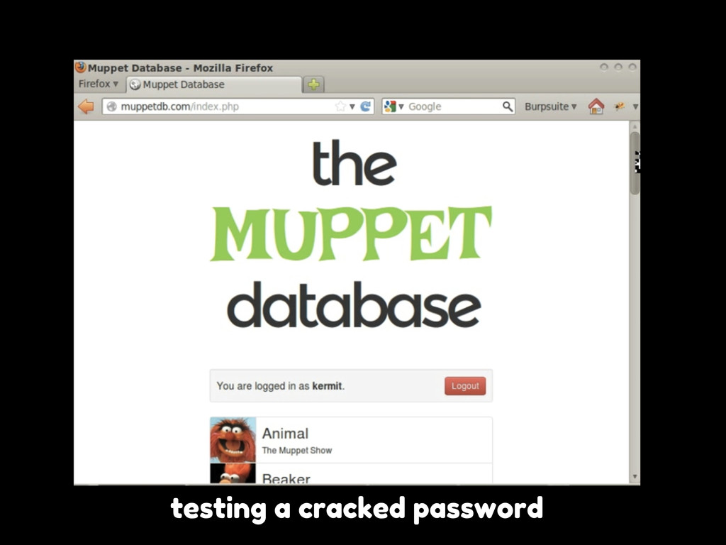 testing a cracked password