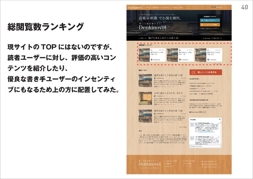 40 総閲覧数ランキング 現サイトの TOP にはないのですが、 読者ユーザーに対し、評価の高...