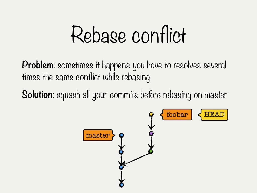 Rebase conflict HEAD master foobar Problem: som...