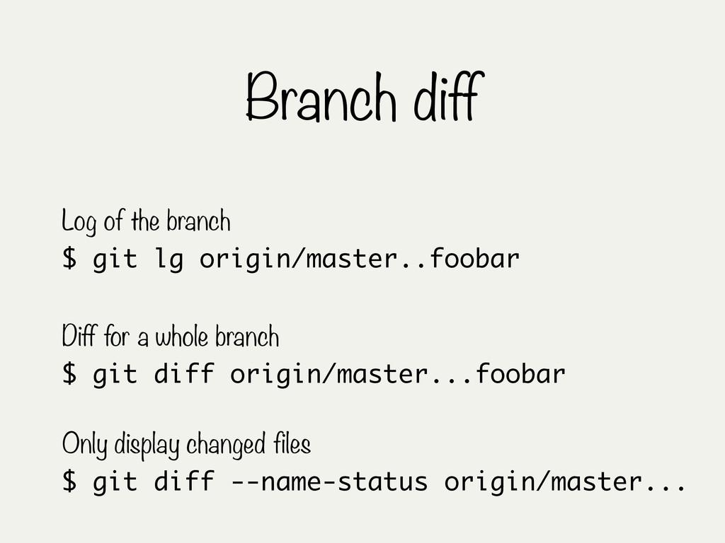 Branch diff $ git diff origin/master...foobar D...