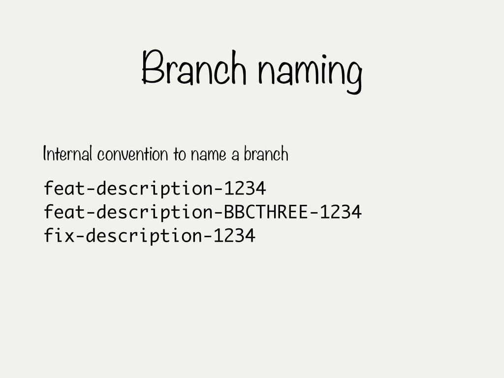 Branch naming feat-description-1234 feat-descri...