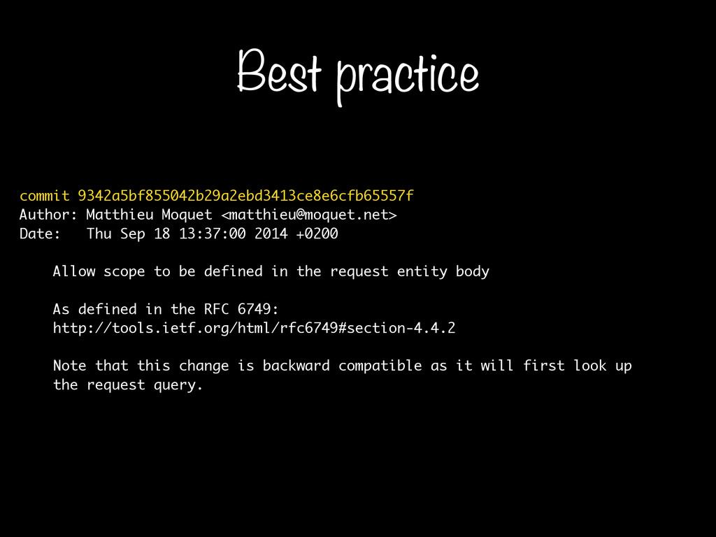 Best practice commit 9342a5bf855042b29a2ebd3413...