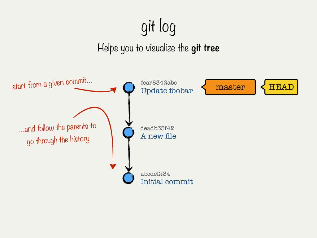 git log master HEAD fear8342abc Update foobar a...