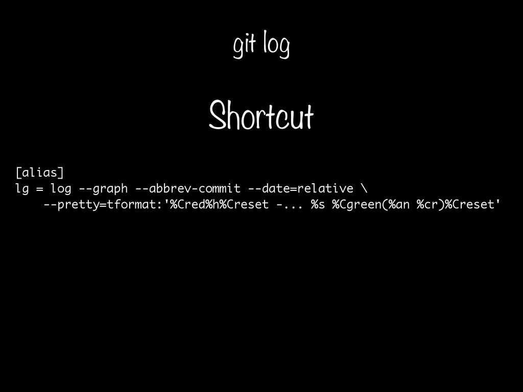 [alias] lg = log --graph --abbrev-commit --date...