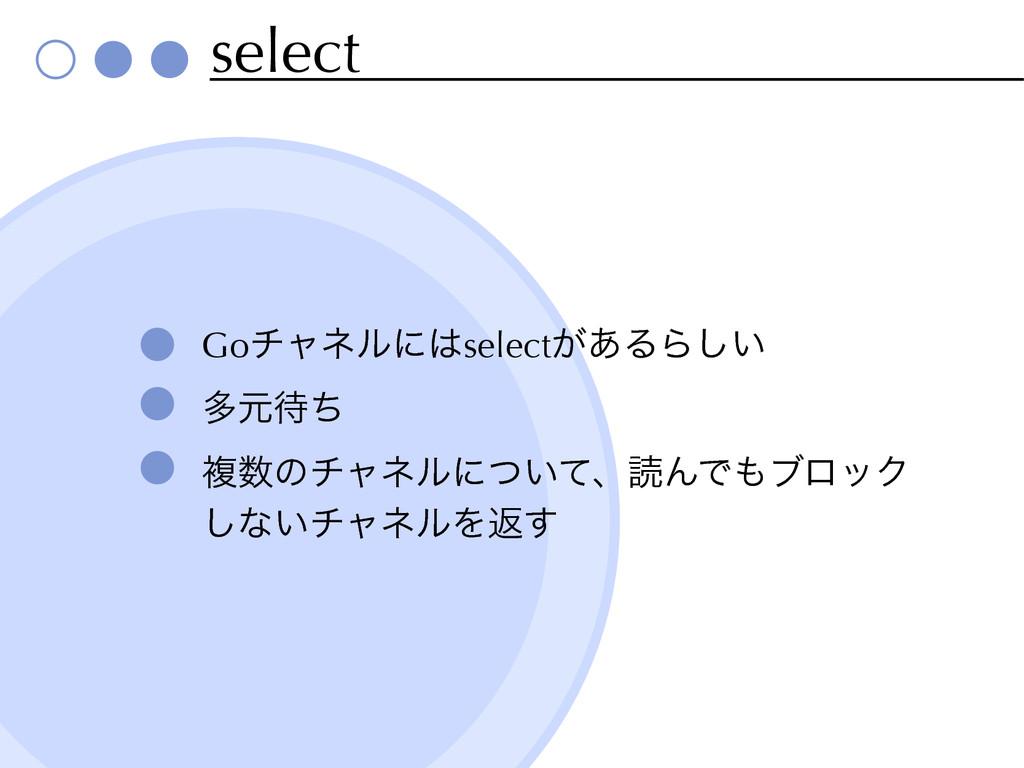 select Goνϟωϧʹselect͕͋ΔΒ͍͠ ଟݩͪ ෳͷνϟωϧʹ͍ͭͯɺಡΜ...