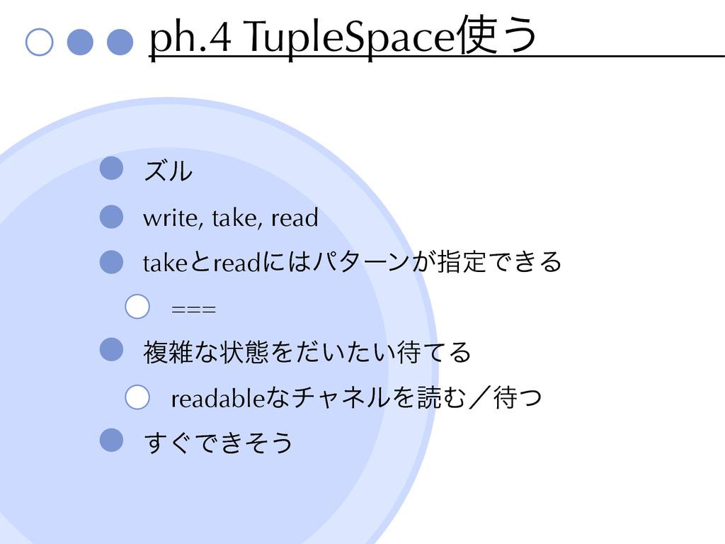 ph.4 TupleSpace͏ ζϧ write, take, read takeͱrea...