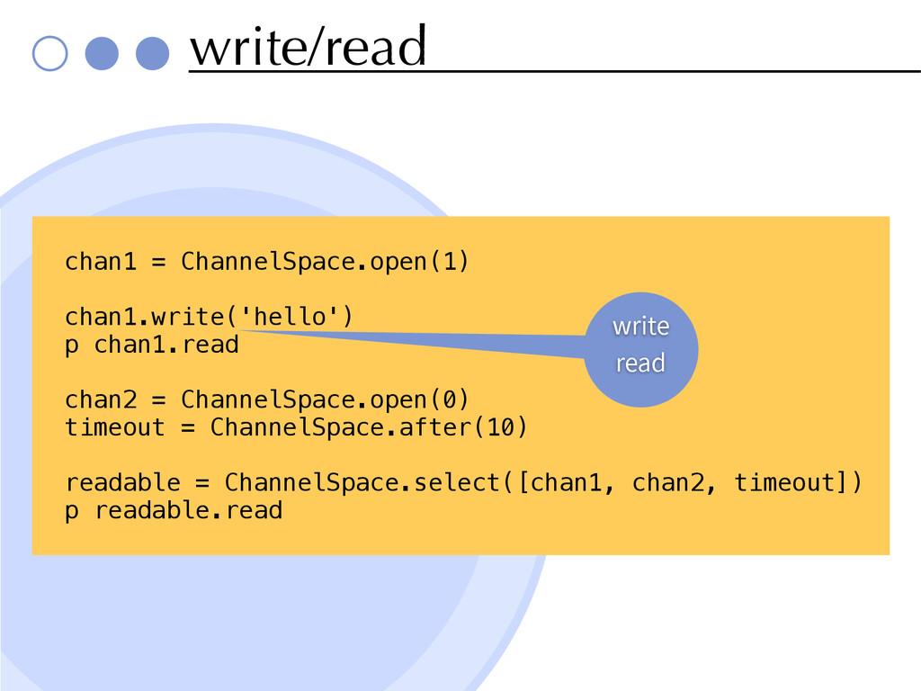 write/read chan1 = ChannelSpace.open(1) chan1.w...