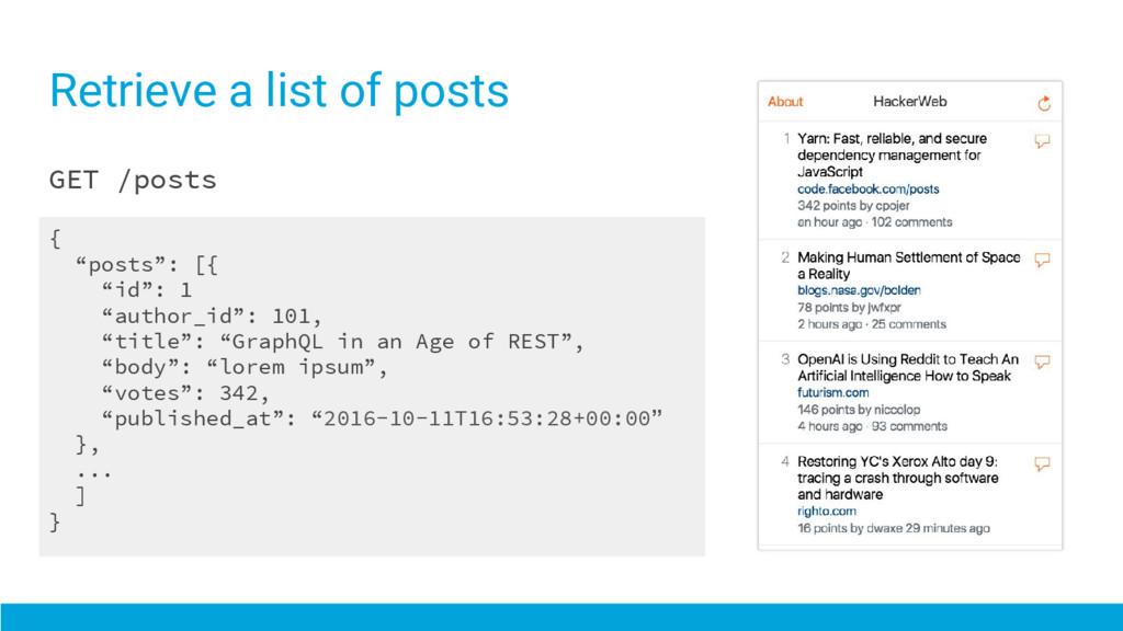"""Retrieve a list of posts GET /posts { """"posts"""": ..."""