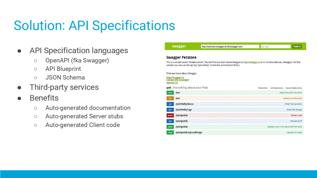 ● API Specification languages ○ OpenAPI (fka Sw...
