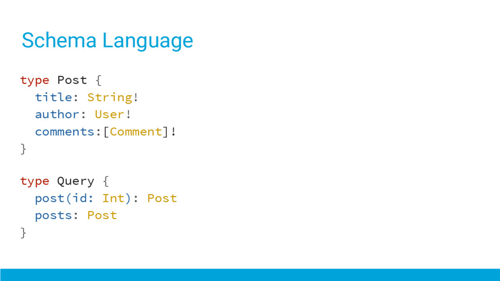 Schema Language type Post { title: String! auth...