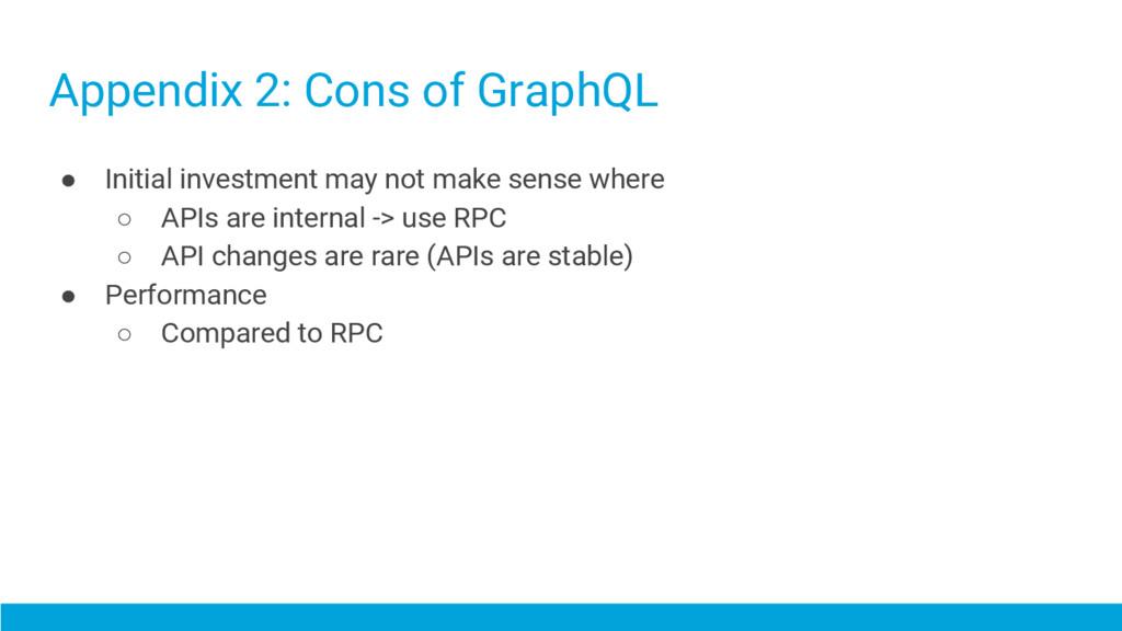 Appendix 2: Cons of GraphQL ● Initial investmen...