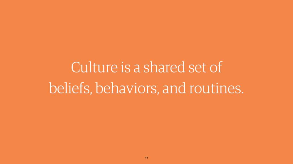 Culture is a shared set of beliefs, behaviors, ...