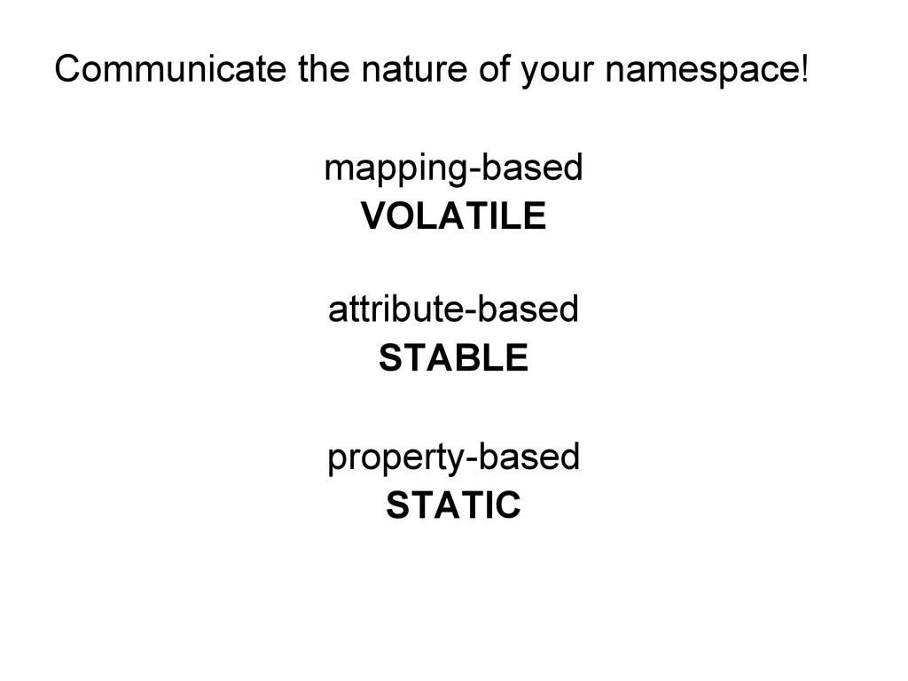 Communicate the nature of your namespace! mappi...