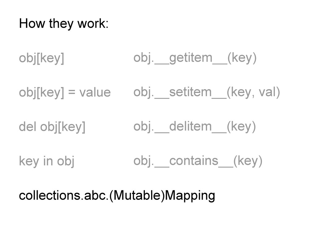 How they work: obj[key] obj[key] = value del ob...