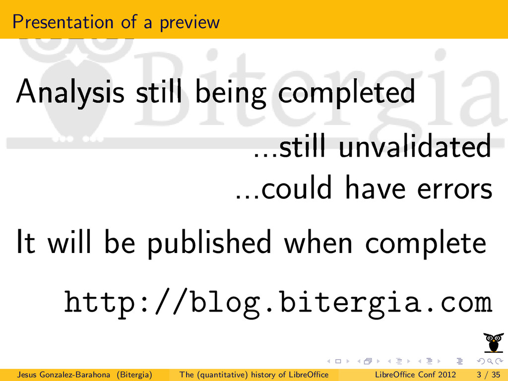 Presentation of a preview Analysis still being ...