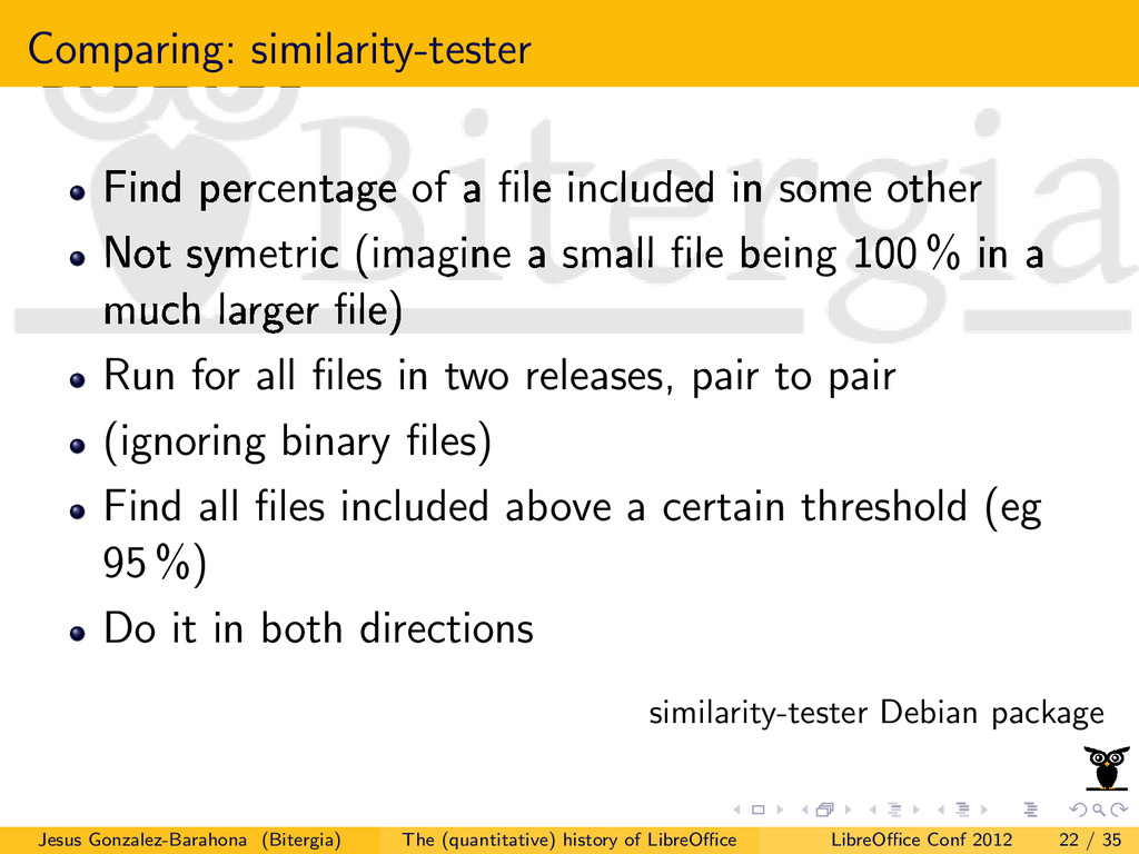 Comparing: similarity-tester Find percentage of...